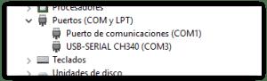 USB-SERIAL CH340 reconocido