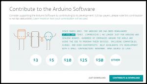 Página de donaciones de Arduino