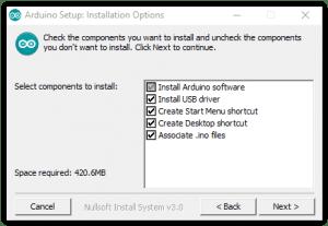 Opciones de Instalación de Arduino