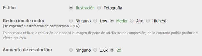 Opciones para redimensionar una imagen en Waifu2X