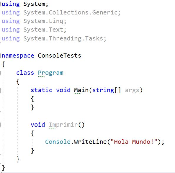 Métodos en C#