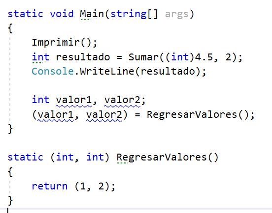 Devolver múltiples valores de método en C#